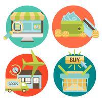 Conjunto de ícones de negócios de compras on-line