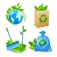 Conjunto de ícones de ecologia e resíduos