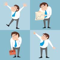 Personagem de empresário coloca conjunto vetor