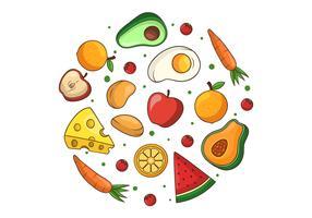 Clipart de alimentos saudáveis vetor