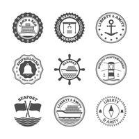 Conjunto de etiquetas do porto marítimo