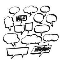 Mão desenhada discurso em branco da bolha, discurso em quadrinhos ou conjunto de discurso dos desenhos animados vetor