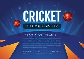 Design de cartaz de campeonato de críquete vetor