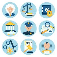 Lei justiça polícia ícones vetor
