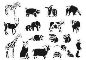 Pacote do vetor do animal do jardim zoológico