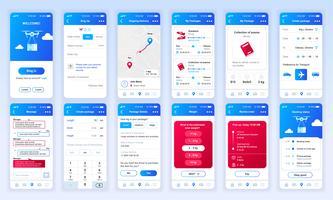 Conjunto de UI, UX, telas de GUI entrega app design plano modelo para aplicativos móveis, wireframes site responsivo. Kit de interface do usuário de Web design. Painel de entrega. vetor