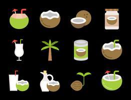 conjunto de ícones de coco bonito vetor