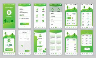 Conjunto de UI, UX, telas de GUI Ecologia app design plano modelo para aplicativos móveis, wireframes site responsivo. Kit de interface do usuário de Web design. Painel de ecologia. vetor