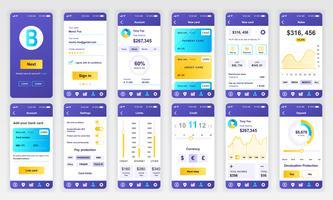 Conjunto de UI, UX, telas de GUI Modelo de design plano de aplicativo bancário para aplicativos móveis, wireframes de site responsivo. Kit de interface do usuário de Web design. Painel Bancário. vetor