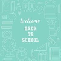 Bem-vindo de volta ao cartaz da escola com tema de material escolar de estrutura de tópicos vetor