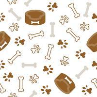 tema padrão sem emenda do cão, osso, pata impressão do pé para uso como papel de parede ou de fundo vetor