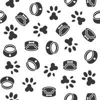 tema padrão sem emenda de cão, prato, pata impressão pé para uso como papel de parede ou de fundo vetor