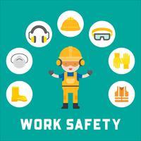 segurança industrial e equipamentos de proteção para ilustração de trabalhador, design plano vetor