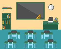 Sala de aula, volta ao tema de plano de fundo de escola, design plano vetor