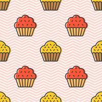 Padrão sem emenda de Cupcake bonito colorido para presente de papel de embrulho vetor