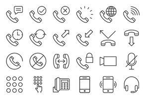Telefone básico e conjunto de ícones de chamada, estilo de estrutura de tópicos vetor
