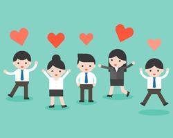Grupo de pessoas de negócios e coração, situação de negócios pronta para uso vetor