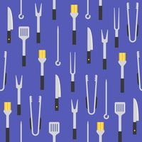 equipamentos de churrasco, como pincel de alinhavo, pinças, espátula vetor