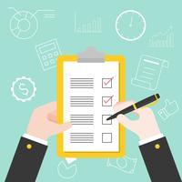 Mão segurando a caneta e prancheta com lista de verificação de plano vetor
