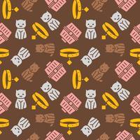 tema de gato e cachorro, sem costura padrão para papel de parede ou usar como presente de papel de embrulho vetor