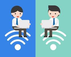 pessoas negócio, sentando, ligado, símbolo wifi, e, usando, laptop, trabalhando