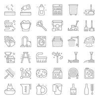 Limpeza e serviço de lavandaria e equipamento delinear o conjunto de ícones vetor