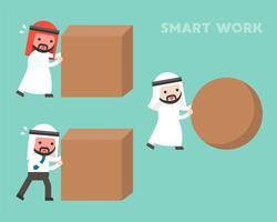 Conceito de trabalho inteligente, homem de negócios árabe rolando rock de esfera vetor