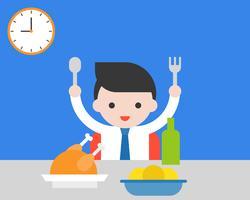 Homem negócio, segurando, garfo, e, colher, comendo desjejum, saudável, conceito, apartamento, desenho
