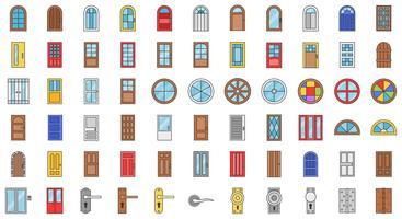 Conjunto de ícones de instalação de porta e janela, contorno preenchido vetor