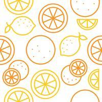 Contorno de padrão sem emenda de laranja e limão para uso como papel de parede vetor