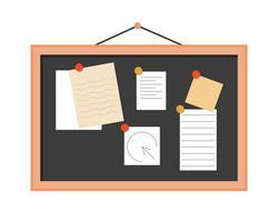 bloco de notas a bordo com notas, design plano vetor