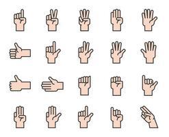 Mão, contagem, e, ícone mão gesto, como, semelhante, amor, punho, enchido, contorno, ícone vetor
