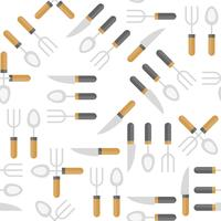 Colher de faca e garfo sem costura padrão para papel de parede ou papel de embrulho vetor