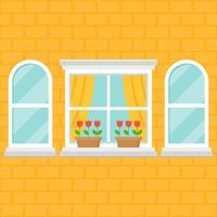 janela e vaso de flores na parede de tijolo vetor