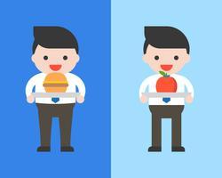 Obesidade homem e homem de negócios com hambúrguer e maçã