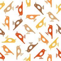 padrão sem emenda de pássaro bonito colorido, tema de outono vetor