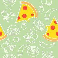 pizza e ingredientes sem costura padrão, contorno para papel de parede e fundo
