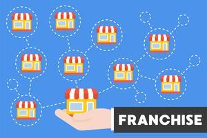 Ícone de mão e loja de negócios com filiais, franquia ou loja