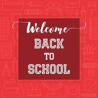 Bem-vindo de volta à tipografia da escola em material escolar, plano de fundo de estrutura de tópicos vetor