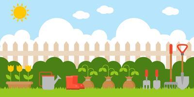 fundo de jardinagem em design plano nos como pano de fundo vetor