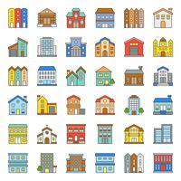 conjunto de ícones de contorno cheio de construção de construção 2/3 vetor