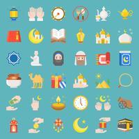 Ramadan e eid Mubarak celebração vector ícone, design plano