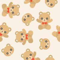 Urso de pelúcia fofo padrão sem emenda para uso como papel de parede vetor