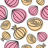 Vegetal de padrão sem emenda de cebola para uso como papel de parede ou plano de fundo vetor