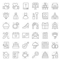 Organização de casamento relacionados ícone vector, estilo de linha.