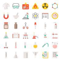 conjunto de ícones de equipamento de laboratório vetor