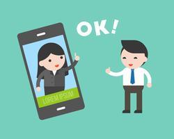 Homem negócios, comunicação, com, mulher negócio, por, cellphone vetor