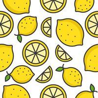 Lemon and lemon slice Padrão sem emenda de frutas tropicais vetor