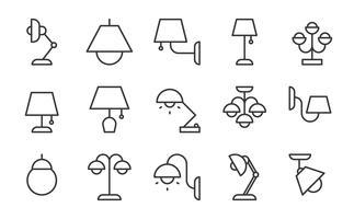 Conjunto de ícones de lâmpada e lanterna vetor
