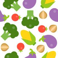 Padrão sem emenda de brócolis, tomate, cebola, berinjela e milho vetor